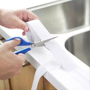 Image 2 - 2021 łazienka prysznic zlew wanna taśma uszczelniająca taśma biała PVC samoprzylepna wodoodporna naklejka ścienna do łazienki kuchnia