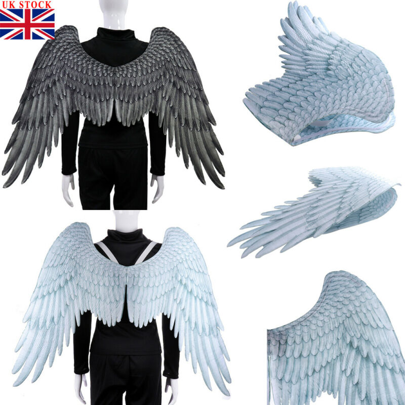 UK Angel Wings Fancy Dress up Fairy Feather Costume Outfit Large Adult Kid Party