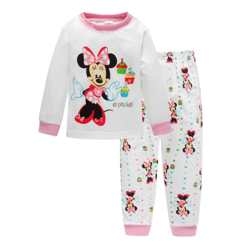 Kids Pajamas Set Children Sleepwear Cartoon Mickey Minnie Mouse Cars Pyjamas Pijamas Baby Boys Girl Cotton Nightwear Clothes Set