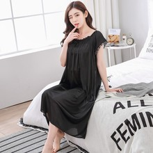Sexy Homewear Women Nightdress Short Sleeve Long Dr