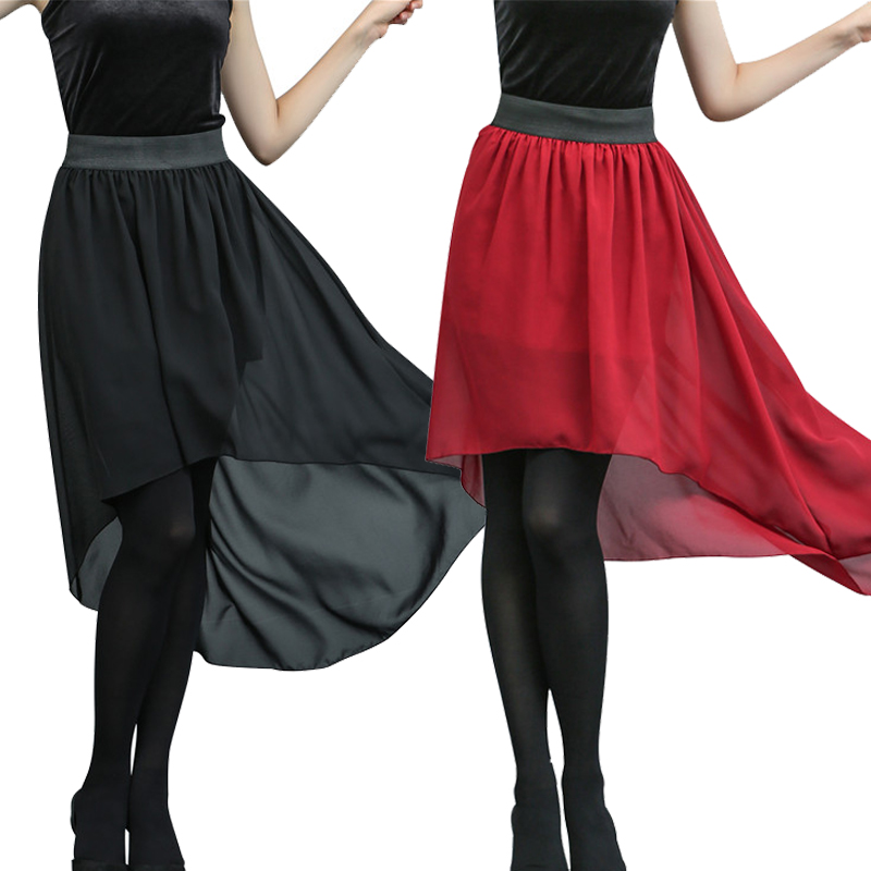 Bohemian Style Dip Hem Long Chiffon Skirts Elastic Waist High Low Long Pleated Asymmetric Solid Color Chiffon Skirts 4 Colors