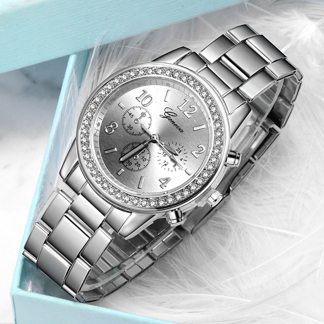 New Watch Women Classic Geneva Luxury Ladies Watches Womens Full Steel Crystal Relogio Feminino Reloj Mujer Metal Wristwatch 4