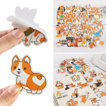 Nieuwe 50 Stks/set Niet Herhalen Leuke Huisdier Corgi Hond Sticker Koffer Motorfiets Trolley Case Notebook Decoratieve Waterdichte Dagboek(China)