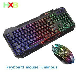 Keyboard And Mouse Gaming Luminous Mouse Keyboard KIT USB Wired Waterproof Multi-Media LED Mouse And Keyboard Combo For PC Gamer(China)