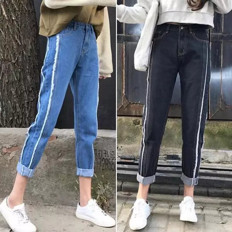 South Korea Retro With Holes Torn Edge Capri Pants Students Jeans Women's Harajuku Ulzzang Loose-Fit BF Style Korean-style Fashi