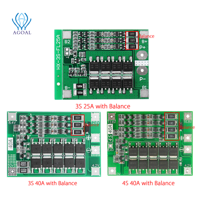3S 4S 25A 40A 18650 Lithium Battery Protection Board 11.1V 12.6V 14.8V 16.8 High Current With Balanced Over Charge Discharge