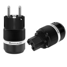 Monosaudio موصل ذكر أوروبي من نوع Schuko E100R/F100R ، نحاس نقي ، روديوم ، قابس أوروبي ، موصل أنثى IEC