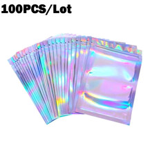 100pcs Bubble Bag Translucent Zip Lock Bags Holographic Storage Bag Xmas Gift Packaging Socks Sexy Lingerie Glove Cosmetics