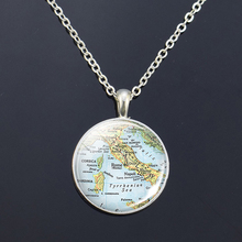 Silver Necklace Europe Countries Map Glass Cabochon Italy France Scotland Poland Fashion Souvenir Pendant Jewelry Gift