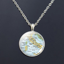 Silver Necklace Europe Countries Map Glass Cabochon Necklace Italy France Scotland Poland Fashion Souvenir Pendant Jewelry Gift(China)