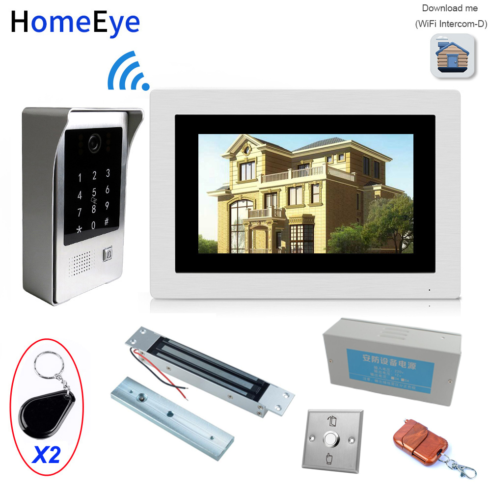 IP Wifi Video Door Phone Intercom Access Control System+Electronic Magnetic Lock+Power Control Box+Open Switch+Remote Control