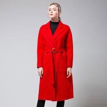 Женское двустороннее кашемировое шерстяное пальто толстое Свободное