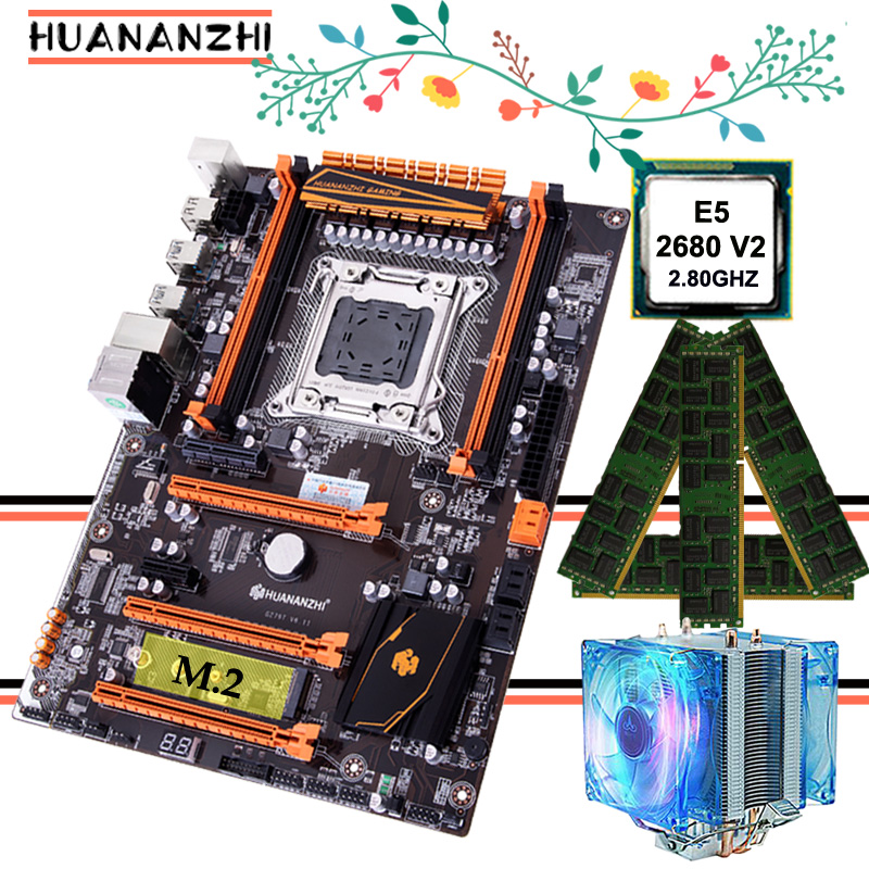 Promotional HUANANZHI Deluxe gaming X79 motherboard with M.2 slot CPU Xeon E5 <font><b>2680</b></font> <font><b>V2</b></font> SR1A6 with CPU cooler RAM 16G(4*4G) RECC image