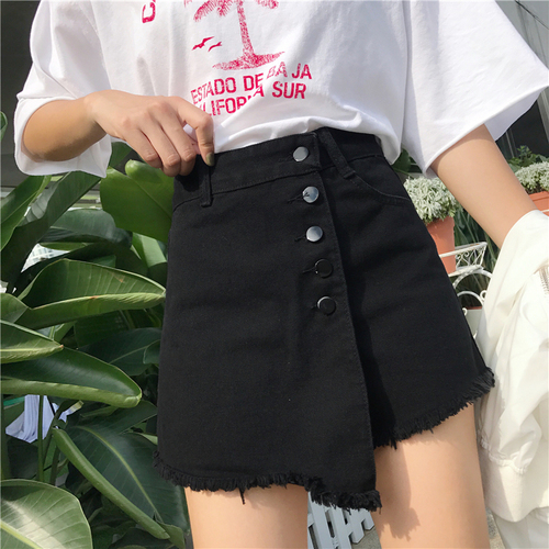 Summer Light Blue Irregular Casual College Wind Basic All Match Fashion 2020 A-line Korean Style High Waist Short Skirts