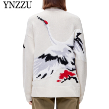 YNZZU New fashion Women Crane Knit cardigan 2019 Autumn Single breasted Long sleeve jacket V neck Casual knitted Outwear YO890