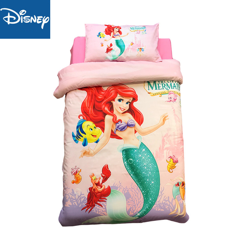 3d Disney Cartoon Ariel Bedding Set For Kids Baby 60x120 Crib Size Comforter Bedding 3 4pcs Pillow Case Duvet Cover 100 Cotton Bedding Sets Aliexpress
