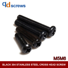 Black Oxide 304 M5M6 stainless steel cross head Phillip round screw Pan screws with recess GB818 DIN7985 ISO 7045
