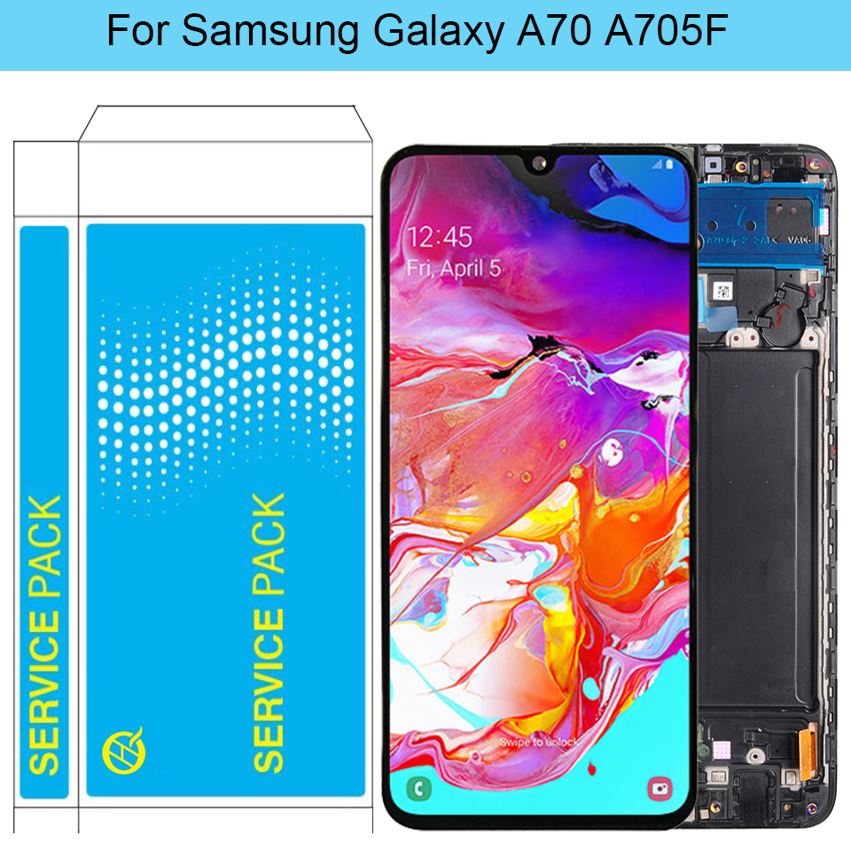 Original <font><b>A70</b></font> <font><b>LCD</b></font> For <font><b>Samsung</b></font> <font><b>Galaxy</b></font> <font><b>A70</b></font> <font><b>LCD</b></font> With Frame SM-A705F A705F/DS Super Amoled Display Touch Screen Digitizer Assembly image