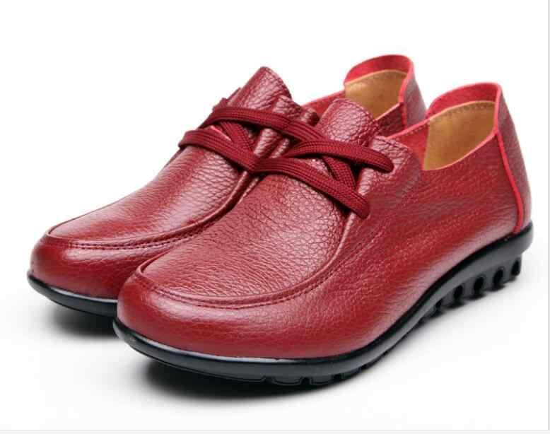 ฤดูใบไม้ร่วงฤดูหนาวผู้หญิงคลาสสิกรองเท้าของแท้รองเท้าหนังผู้หญิง Slip on Loafers Anti Slip Cowhide Casual Mujer Plus ขนาด