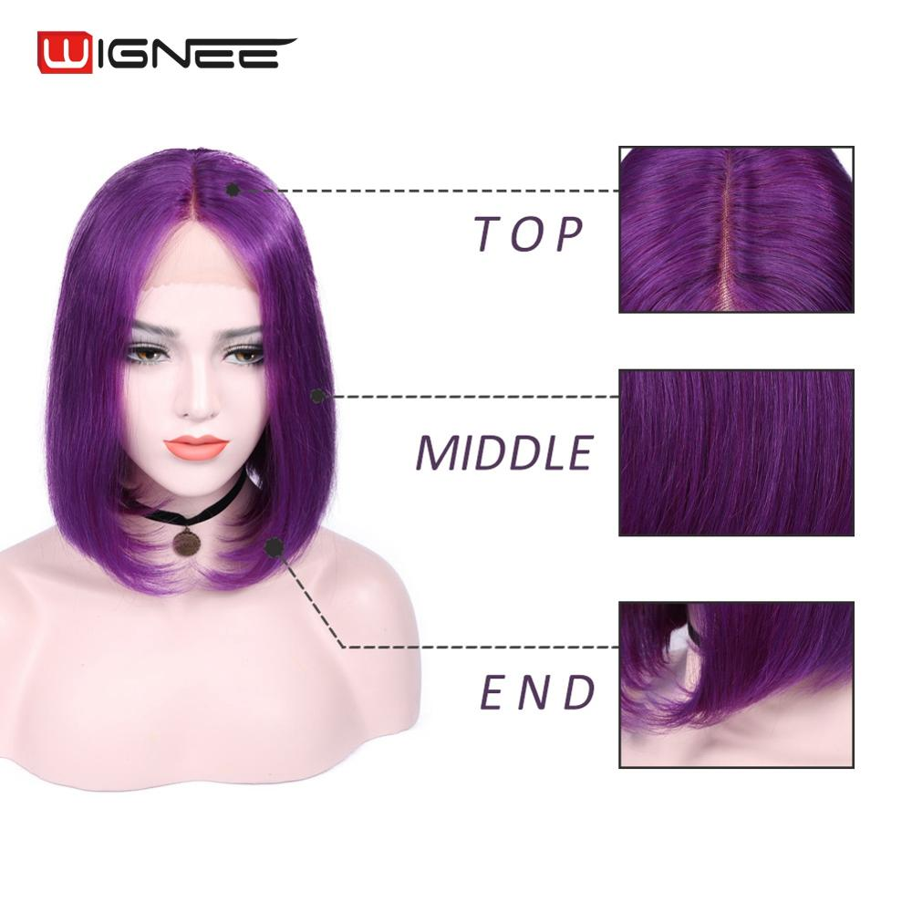 Wignee Lace Front Purple Color Human Hair Wigs For Women Short Straight Hair Lace Part Bob Style 100% Human Hair Malaysian Wig
