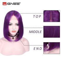 Wignee Lace Front Purple Color Human Hair Wigs for Women Short Straight Hair Lace Part Bob Style 100% Human Hair Malaysian Wig short side bang straight mixed color siv human hair wig