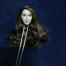 1/6 Scale Asian Beauty Long Curls Hair Head Carving Fit 12 Pale Skin Body 12body Gift Collection for fans