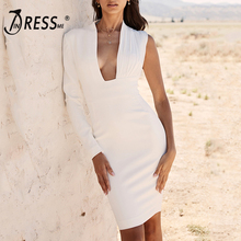 INDRESSME 2019 New Women Arrivals Vestidos Sexy  One Shoulder Deep V Party Club Bodycon Bandage Knee Length White Dress Hot