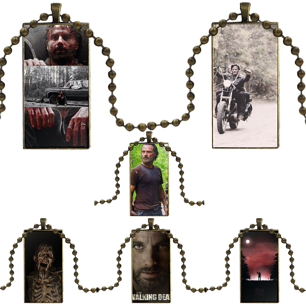 For Women Jewelry With Steel Plated Glass Cabochon Choker Long Pendant Rectangle Necklace Darly Dixon The Walking Dead Zombies