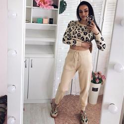 Fashion Retro Women Knitted Suits Leopard Long Sleeve O-neck Sweater  Lace Up Waist Pocket Harem Pants Korean Sets