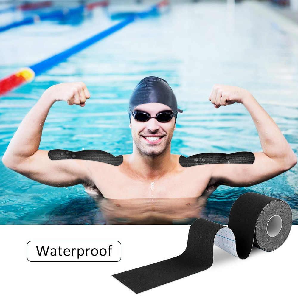 6 rollen Wasserdichte Baumwolle Elastische Kinesiologie Band Muscle Schmerzen Relief Knie Ellenbogen Sport Brust Lift Klebeband Breite 2,5-5cm