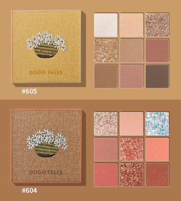 Gogotalesアイシャドウパレット9色ドライローズピンクきらめきマットヌードベルベットアイシャドウパレット顔料美容メイクパレット