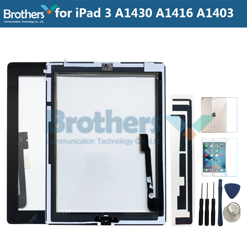 9.7 For IPad 3 A1416 A1430 A1403 Touch Screen Digitizer Sensor Glass Panel Tablet Replacement For IPad 3 Screen With Home Button