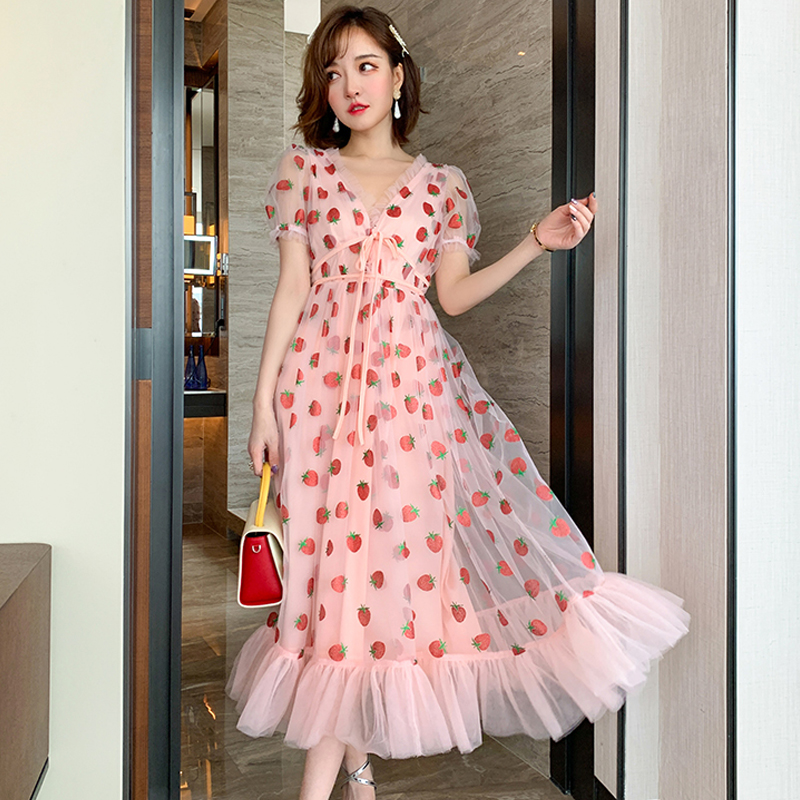 Runway Rhinestone Diamonds Strawberry Pink Mesh Maxi Dress Women Short Puff Sleeve Sexy V-neck Lace-up Bow Tunic Lolita Dress (21)