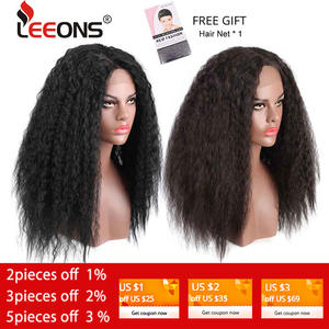 Leeons Wig Synthetic Brazilian-Hair Lace-Front Kinky Glueless Long Straight Curly Resistent