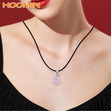 HOOMIN Fashion Jewelry Necklaces Pink Jade Natural Rose Quartz Pink Crystal Pendants For Female Women Gift Suspension(China)