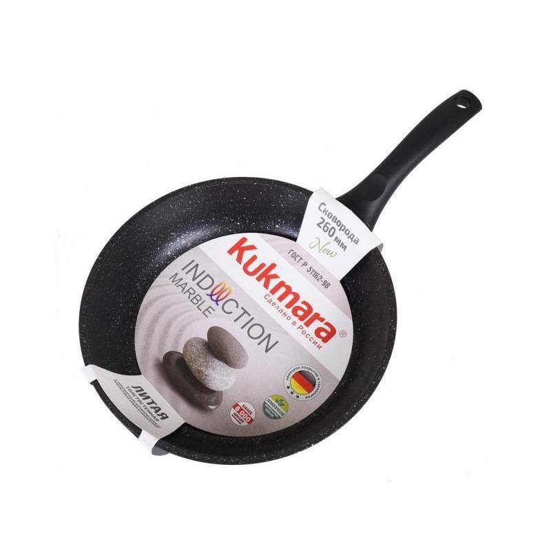 Frying Pan Kukmara, Marble, Dark Marble, 26 Cm, Black