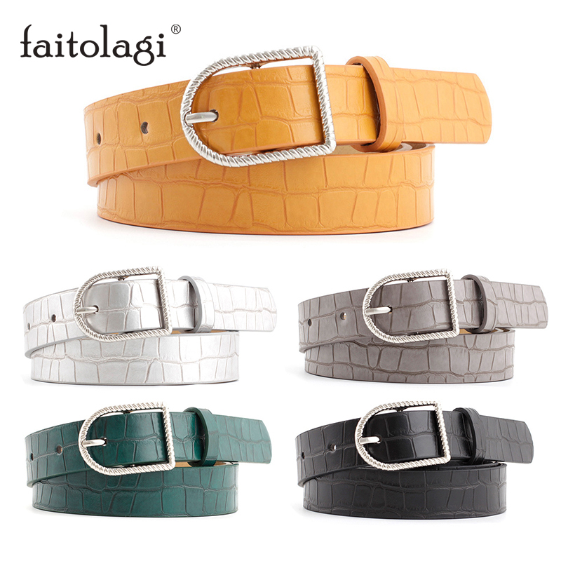 2020 Women's Belt Black White Green Yellow Ladies Belt For Dress Female Pin Buckle Leather Jeans Waist Belts Strap Pasek Damski