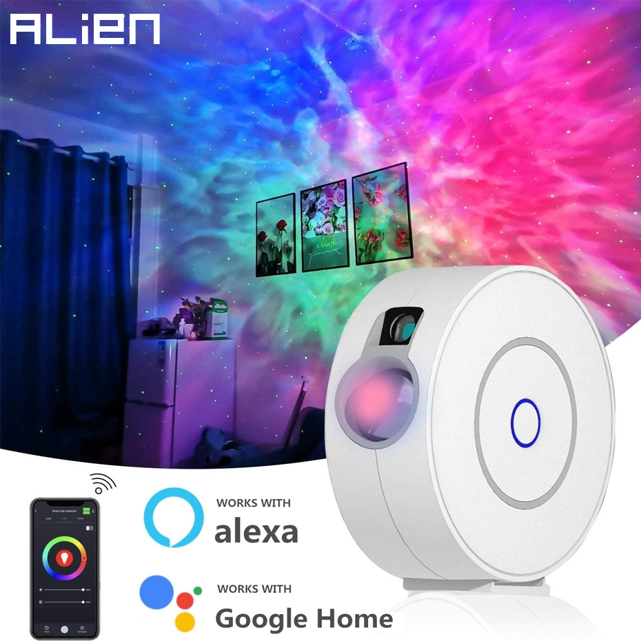 ALIEN Smart Star Galaxy Laser Projector Starry Sky Stage Lighting Effect for Christmas Party Holiday Work with Alexa Google Home