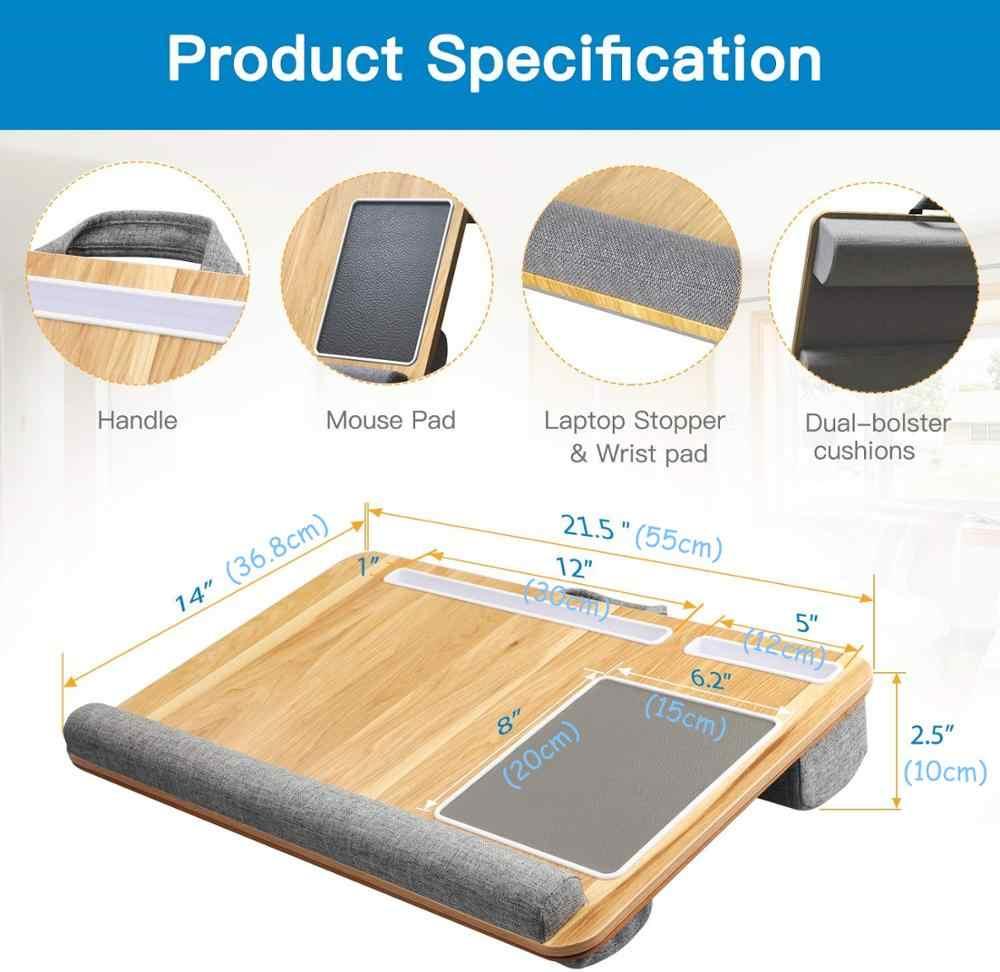 Lapdesk convient à un bureau d'ordinateur portable de 17 pouces, support d'ordinateur portable avec tablette et support pour téléphone tapis de souris intégré et tapis de poignet pour MacBook