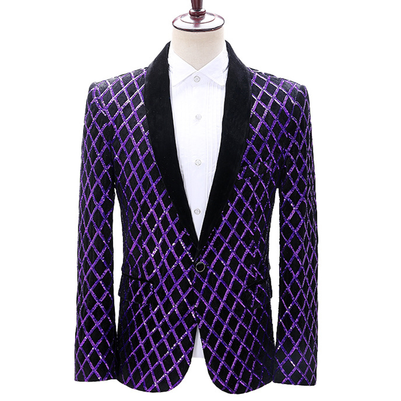 Plaid Jacket Men Stage Party Mens Suit Jacket Sequin Dress Luxury Performance Mens Blazer Wedding DJ Singer Velvet Costume Homme
