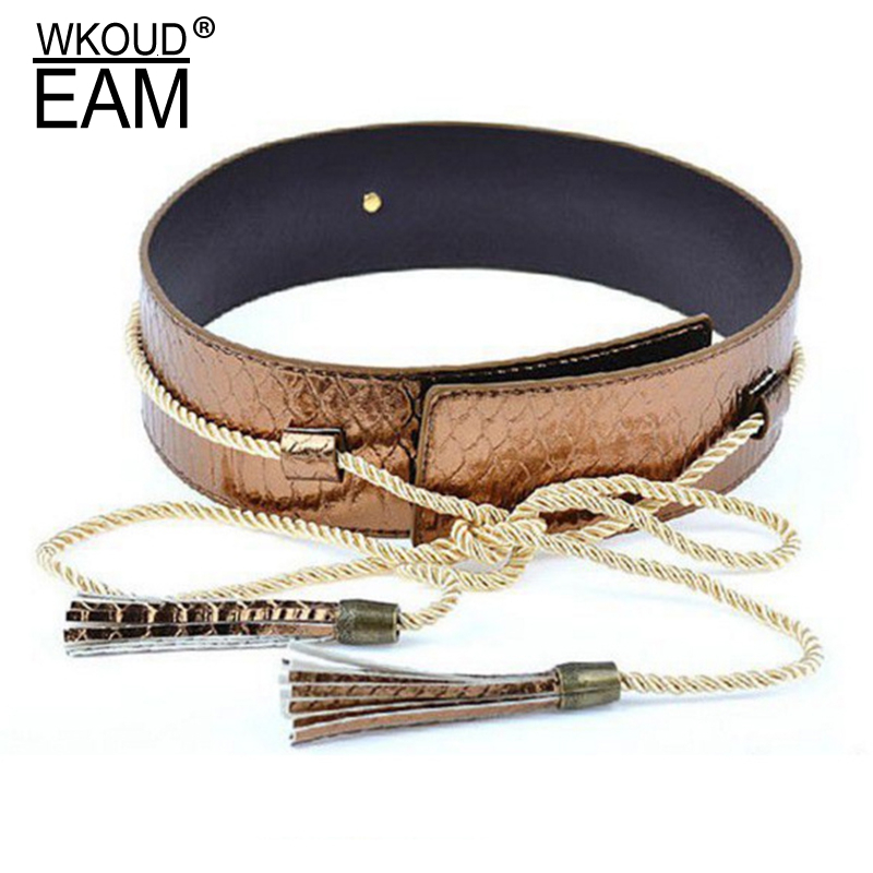WKOUD EAM 2020 New Fashion Snakeskin Pattern Waist Seal For Women Drawstring Tassels Solid Imitation Leather Belt Female A134
