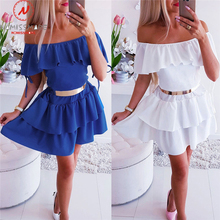 Sexy Women A Line Dress for Streetwear Patchwork Design Ruffles Decor Off Shoulder Short Sleeve Solid Lady Summer Slim Dress