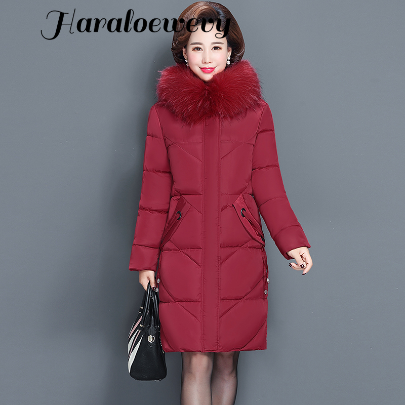 Women's Winter Jacket Fur Collar Female Jacket Slim Cotton-padded Long Jacket Outerwear Winter Coat Parka Large Size 6XL