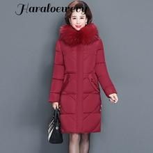 Women's Winter Jacket Fur Collar Female Jacket Slim Cotton-padded Long Jacket Outerwear Winter