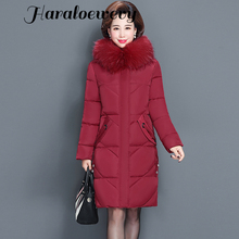 Women's Winter Jacket Fur Collar Female Jacket Slim Cotton-padded Long Jacket Outerwear Winter Coat Parka Large Size 6XL