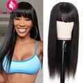 Прямые парики из человеческих волос для чернокожих женщин, Длинные бразильские волосы, парики с челкой 8-28 дюймов, парик полностью машинной ...