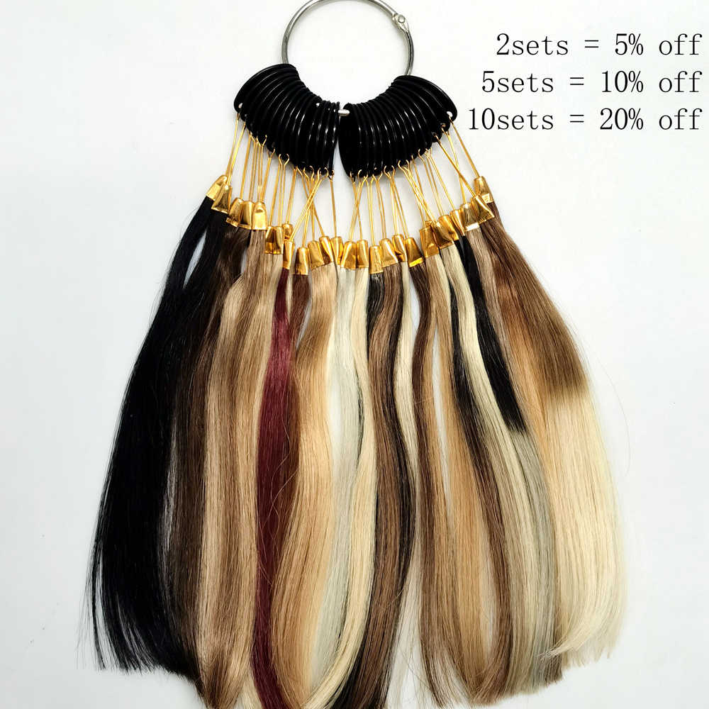 MRSHAIR 28 Colors Rings Remy Hair Color Charts Professional Salon Use Human Hair Black Brown Blonde Red Pink Purple Blue Burg
