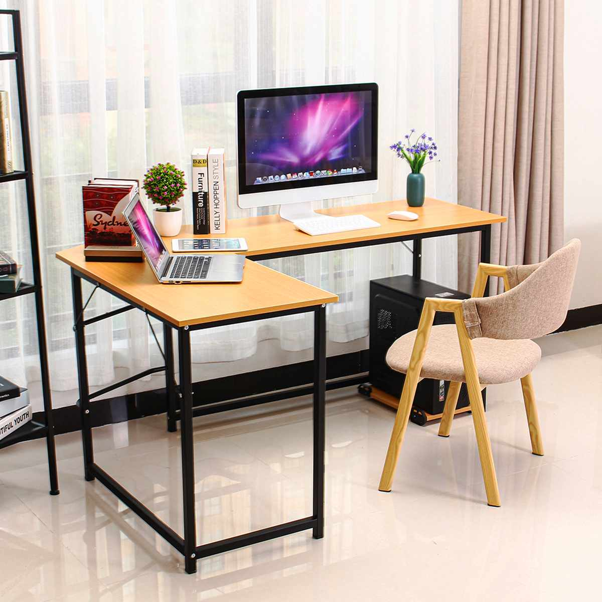 Wooden Office Computer Writing Desk Home Gaming PC Furnitur L-Shape Corner Study Computer Table Laptop Desk Laptop Stand