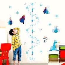 Cartoon Disney Frozen Anna Elsa Growth Chart PVC Wall Stickers For Kids Room Home Decor DIY Anime Wall Height Measure Art Decals animal height chart wall stickers diy kid room decor