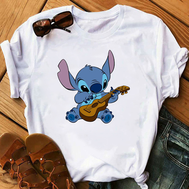 Fashion Women Cartoon T-Shirt Big Mouth Happy Cute Lilo Stitch Tshirts Female Print Casual T Shirt Casual Tops